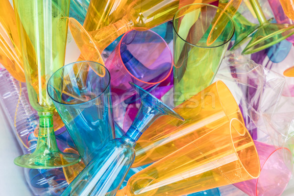 plastic sparkling wine glasses in a litterbox Stock photo © meinzahn