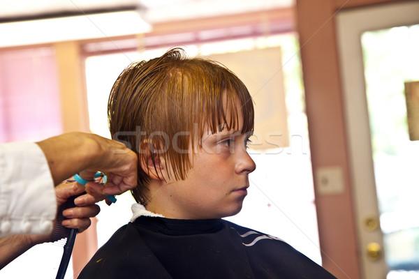 Giovani ragazzi parrucchiere faccia felice moda Foto d'archivio © meinzahn
