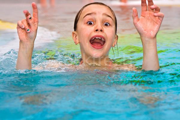 children having fun in the outdoor thermal pool Stock photo © meinzahn