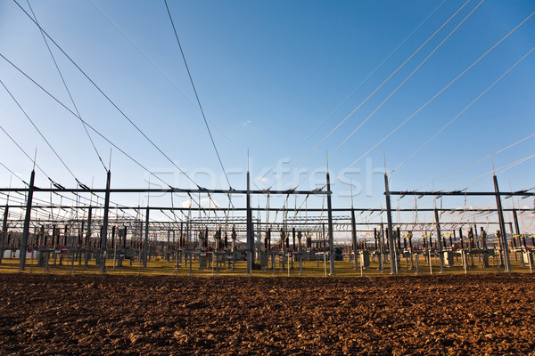electricity relay station with high-voltage insulator and power  Stock photo © meinzahn