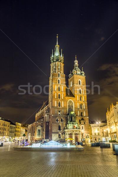 Gothic kerk krakow Polen nacht wolk Stockfoto © meinzahn