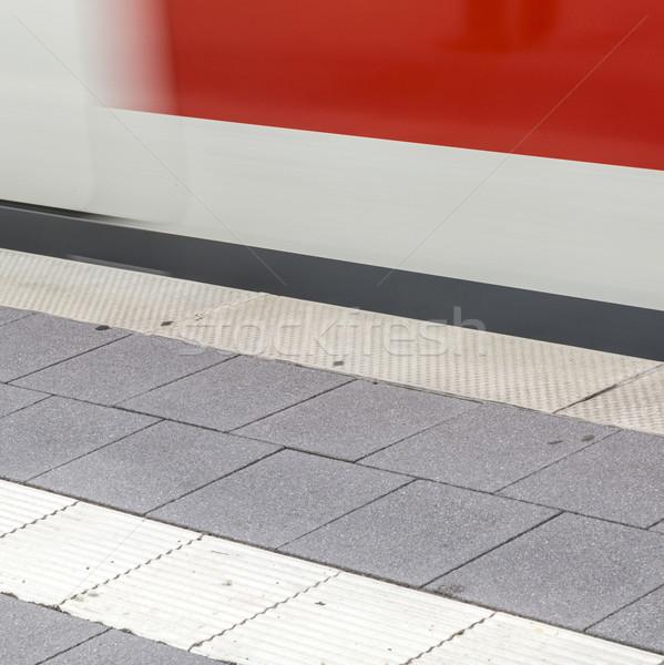 Stock photo: train fast moving at subway station
