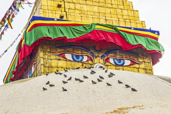 Foto stock: Buda · olhos · oração · bandeiras · blue · sky · azul
