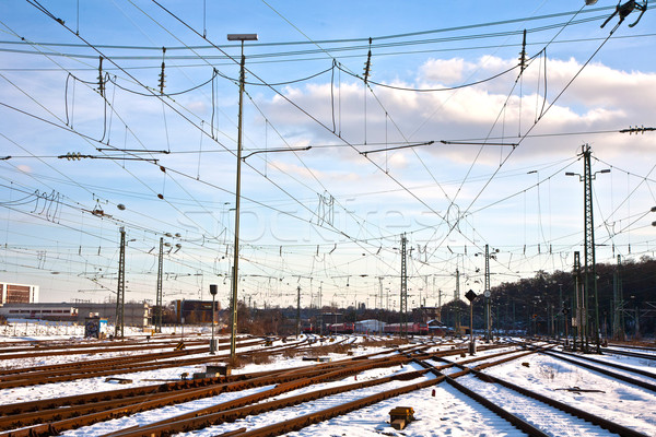 Stock photo: rails in winter at the station