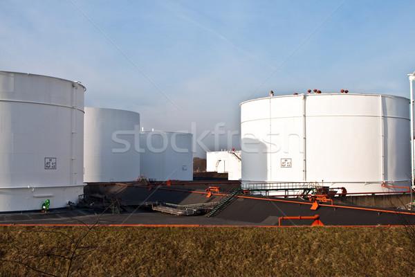 ストックフォト: 白 · タンク · ファーム · 青空 · 建設 · 背景