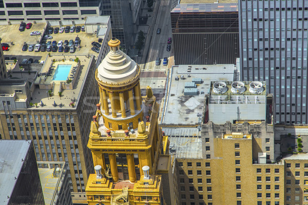 aerial of modern and historic   buildings in downtown Houston Stock photo © meinzahn