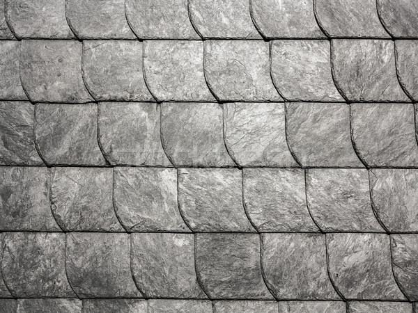 Grijs dak harmonisch patroon rij muur Stockfoto © meinzahn