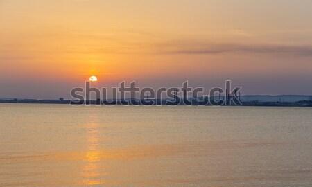Olajfinomító Marseille naplemente víz óceán éjszaka Stock fotó © meinzahn