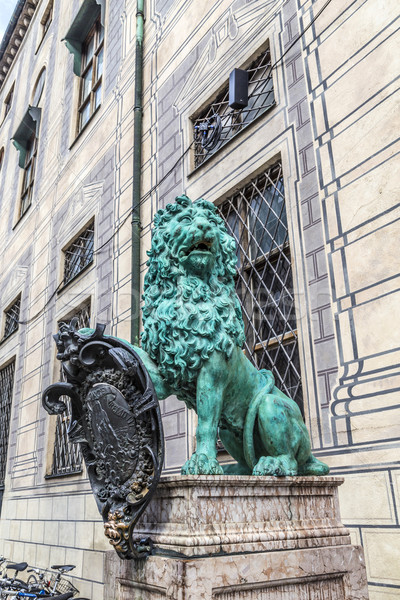 bavarian lion statue in front of residence palace at odeonsplatz Stock photo © meinzahn