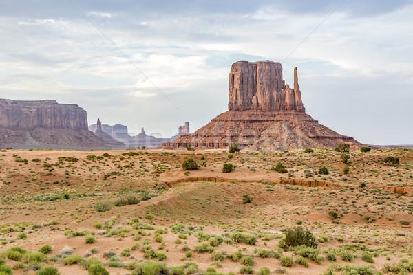 West Mittens Butte in monument valley Stock photo © meinzahn