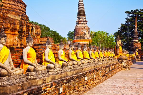 Stok fotoğraf: Buda · tapınak · Bangkok · Tayland · gökyüzü · mavi