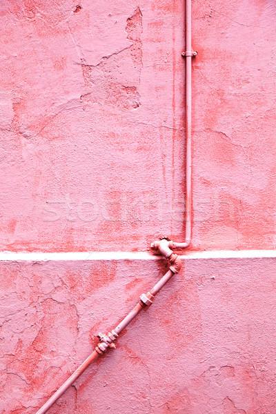 Parede sair tubo velho histórico rosa Foto stock © meinzahn