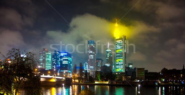 Франкфурт основной ночь Cityscape бизнеса Сток-фото © meinzahn