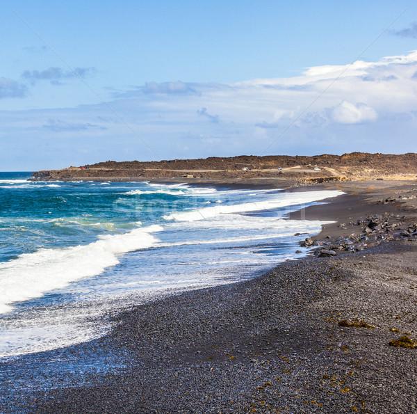 Vulkanisch strand landschap oceaan zwarte alleen Stockfoto © meinzahn