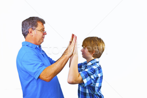 幸せ 父から息子 ホーム 家族 手 手 ストックフォト © meinzahn