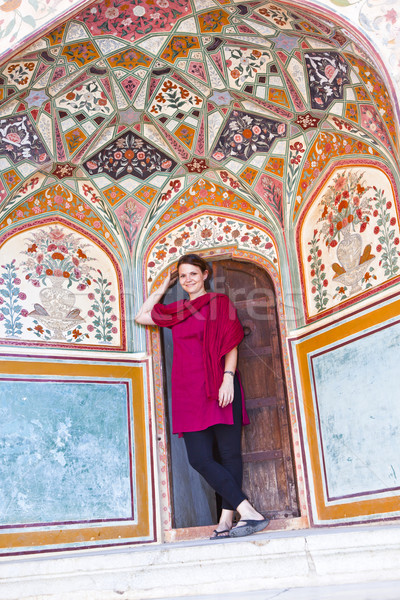 beautiful caucasian woman posing in Amber Fort, India  Stock photo © meinzahn