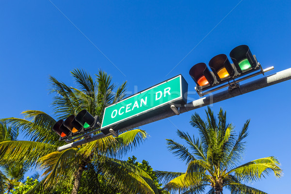 street sign of famous street Ocean Drive in South beach, Miami Stock photo © meinzahn