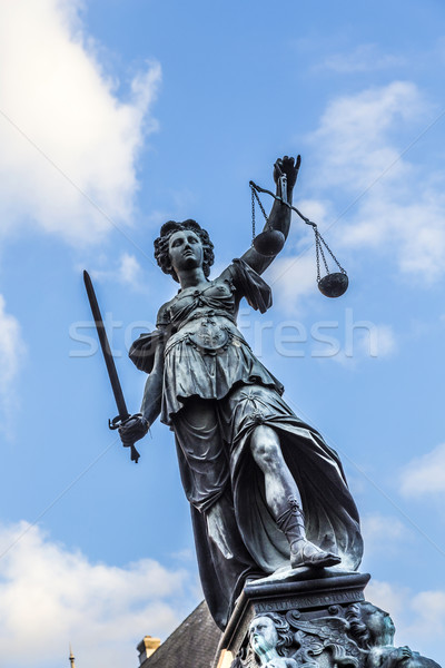 Frankfurt Niemcy pani sprawiedliwości rzeźba placu Zdjęcia stock © meinzahn