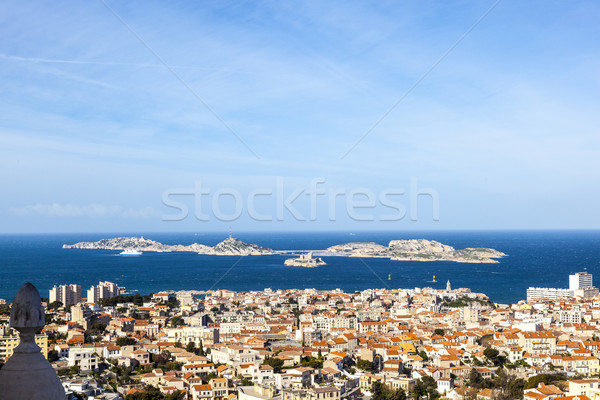 aerial view of one of the Frioul islands and the town of Marseil Stock photo © meinzahn