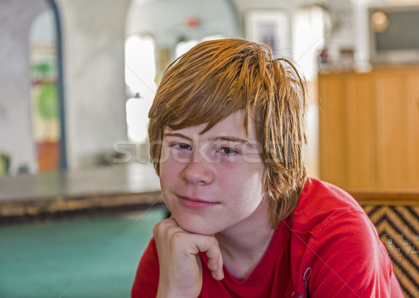 young teenage boy with long red hair Stock photo © meinzahn