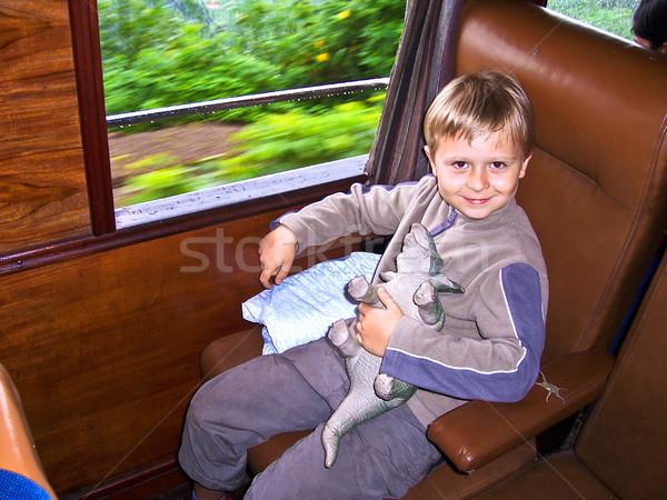 boy in the train Stock photo © meinzahn