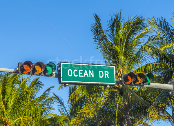 street sign of famous street Ocean Drice in Miami South  Stock photo © meinzahn
