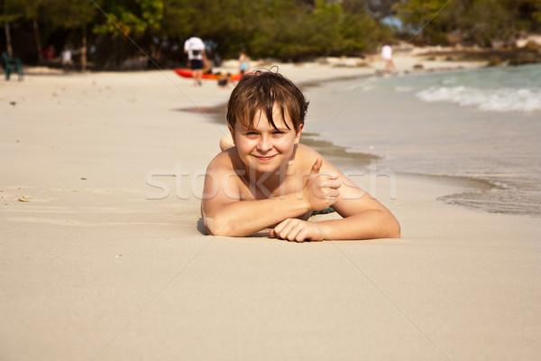 Plaj erkek su bakıyor Stok fotoğraf © meinzahn