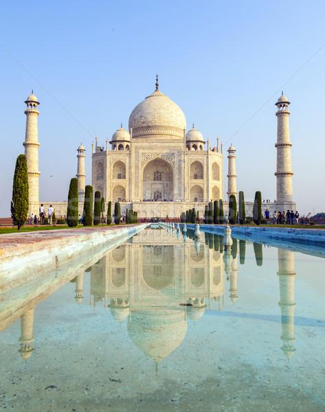 Photo stock: Taj · Mahal · sunrise · lumière · ciel · eau · amour