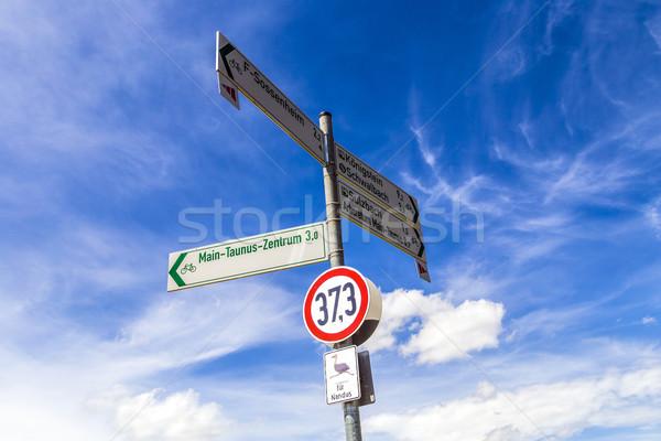 Sokak işareti mavi gökyüzü Almanya doğa imzalamak kuşlar Stok fotoğraf © meinzahn