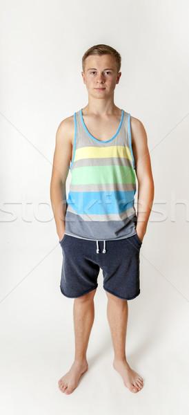 Portret positief puber jongen puberteit gezicht Stockfoto © meinzahn