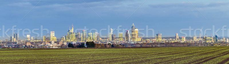 Horizonte Frankfurt noche nubes rascacielos puesta de sol Foto stock © meinzahn