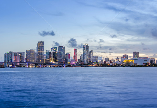 Майами Панорама сумерки городского Небоскребы Сток-фото © meinzahn