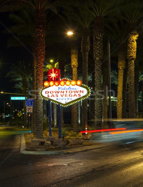 Centrum Las Vegas teken nacht stad straat Stockfoto © meinzahn