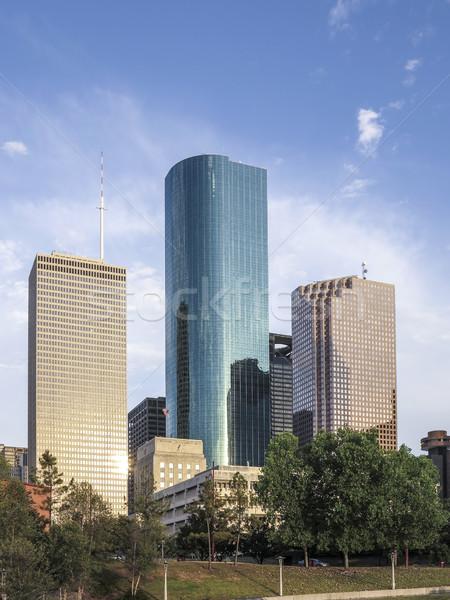 Sziluett Houston naplemente fényes iroda város Stock fotó © meinzahn