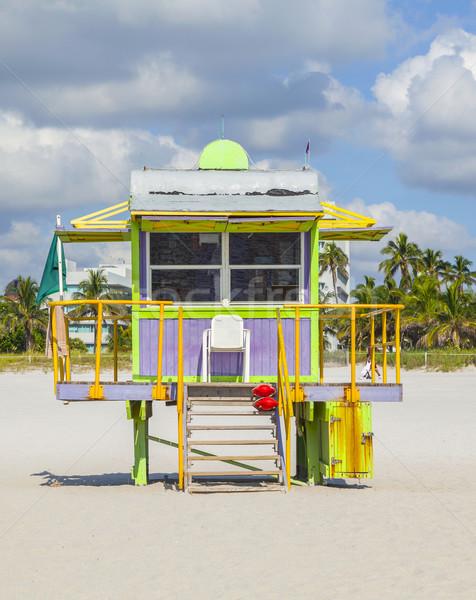 Tengerpart fehér dél Miami fából készült színes Stock fotó © meinzahn