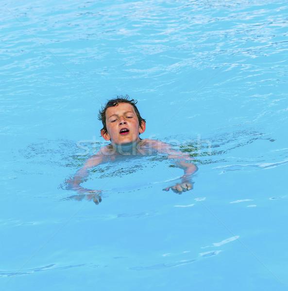 少年 スイミングプール かわいい 水 顔 幸せ ストックフォト © meinzahn