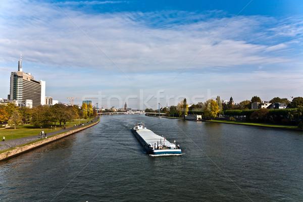 Freight ship on river Main direction Mainz Stock photo © meinzahn