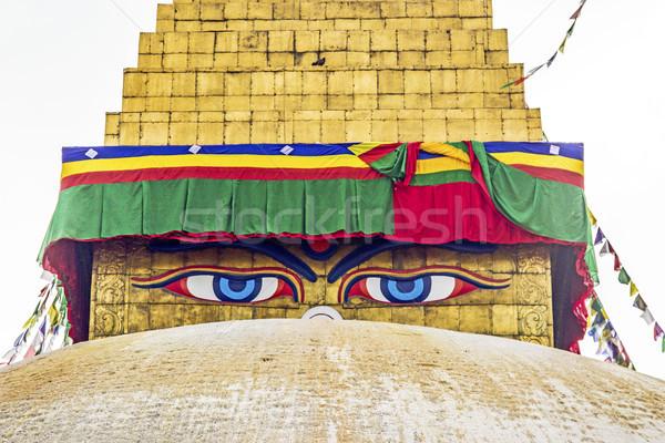Buda gözler dua bayraklar mavi gökyüzü mavi Stok fotoğraf © meinzahn