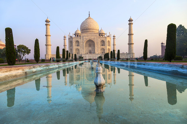 Taj Mahal sunrise lumière Inde ciel eau Photo stock © meinzahn