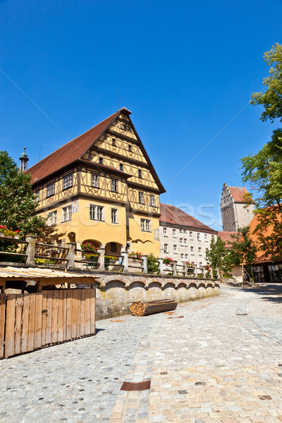 historic half-timbered house in romantic medieval town of Dinkel Stock photo © meinzahn