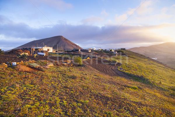 Zonsopgang huis zonsondergang landschap boerderij Stockfoto © meinzahn