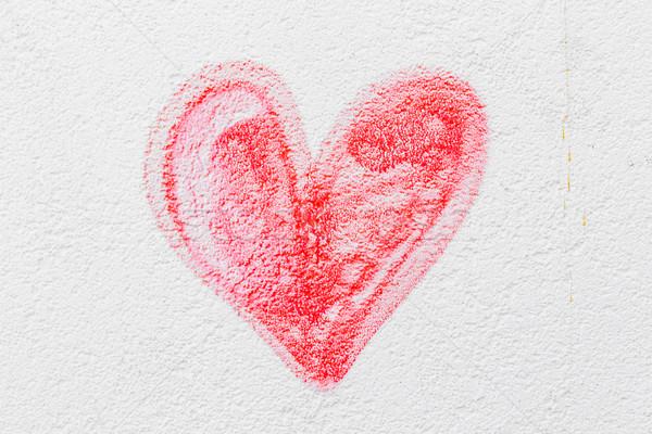 Stok fotoğraf: Kırmızı · boyalı · kalp · beton · duvar · sevmek
