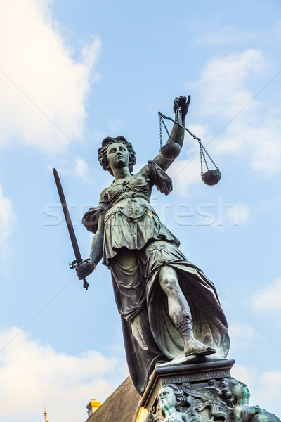 Justitia - Lady Justice - sculpture on the Roemerberg square in  Stock photo © meinzahn