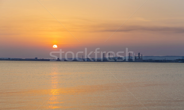Marsilya gün batımı okyanus sanayi yağ Stok fotoğraf © meinzahn