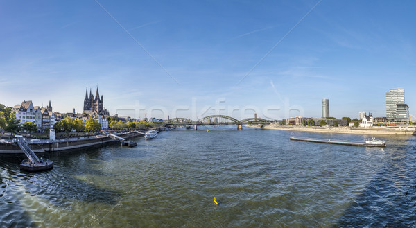skyline of Cologne with river Rhine Stock photo © meinzahn