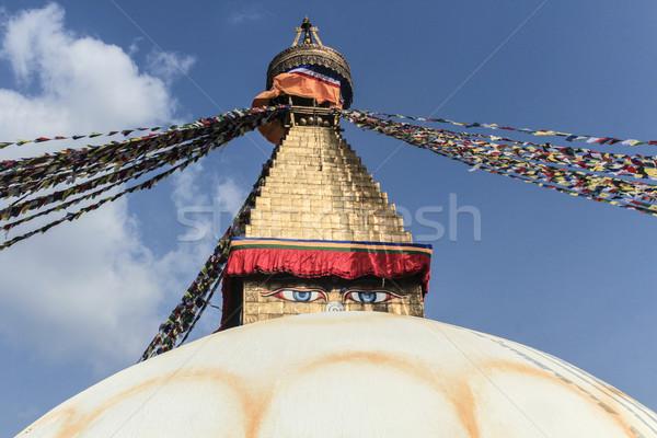 Tibetan flags in Boudhanath Stupa  Stock photo © meinzahn