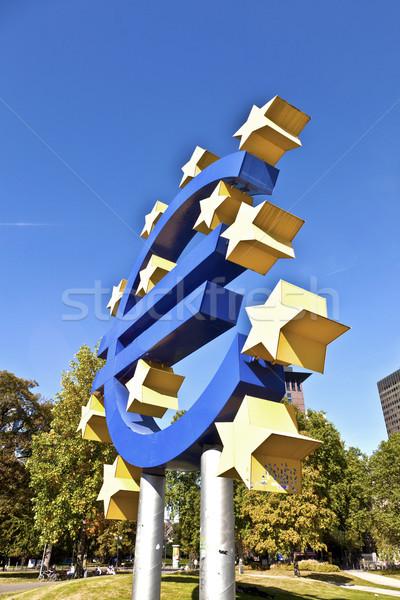 Euro felirat Frankfurt európai központi bank Stock fotó © meinzahn