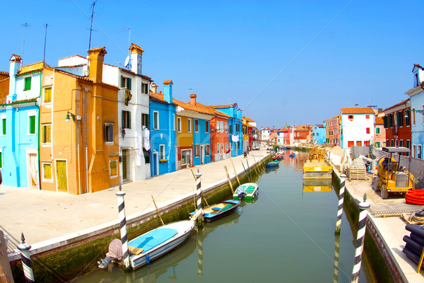 beautiful colored houses and a canal seen from an old brigde of  Stock photo © meinzahn
