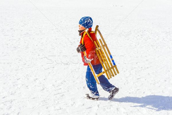 child carries his sledge Stock photo © meinzahn