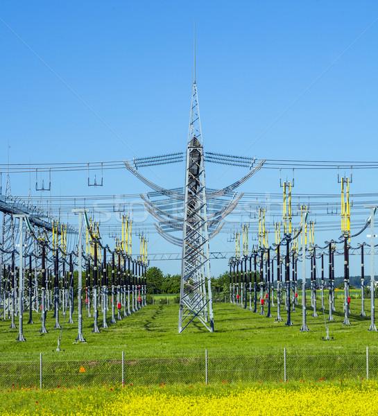 Elektryczne elektrownia kolorowy łące piękna niebo Zdjęcia stock © meinzahn